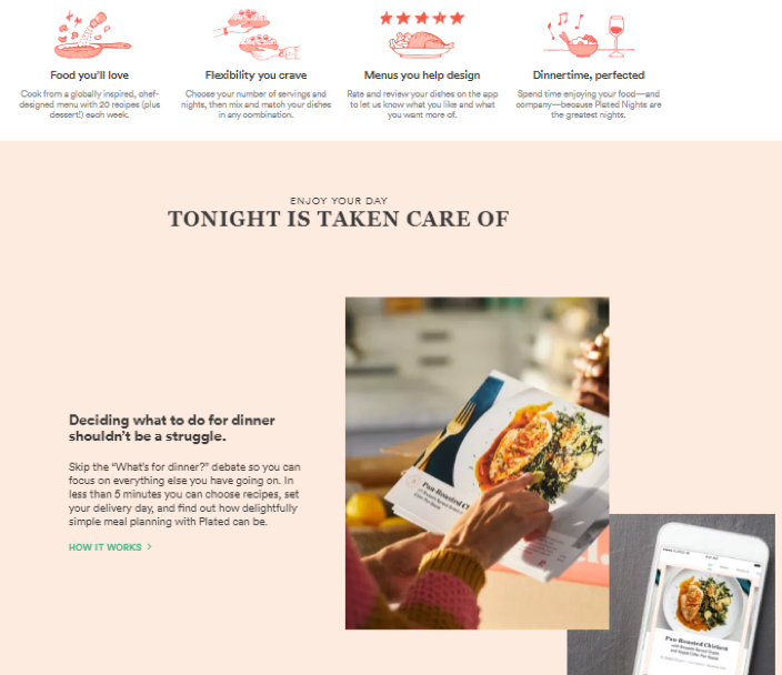 Recipe ingredient delivery service Plated offers an excellent example of this balance